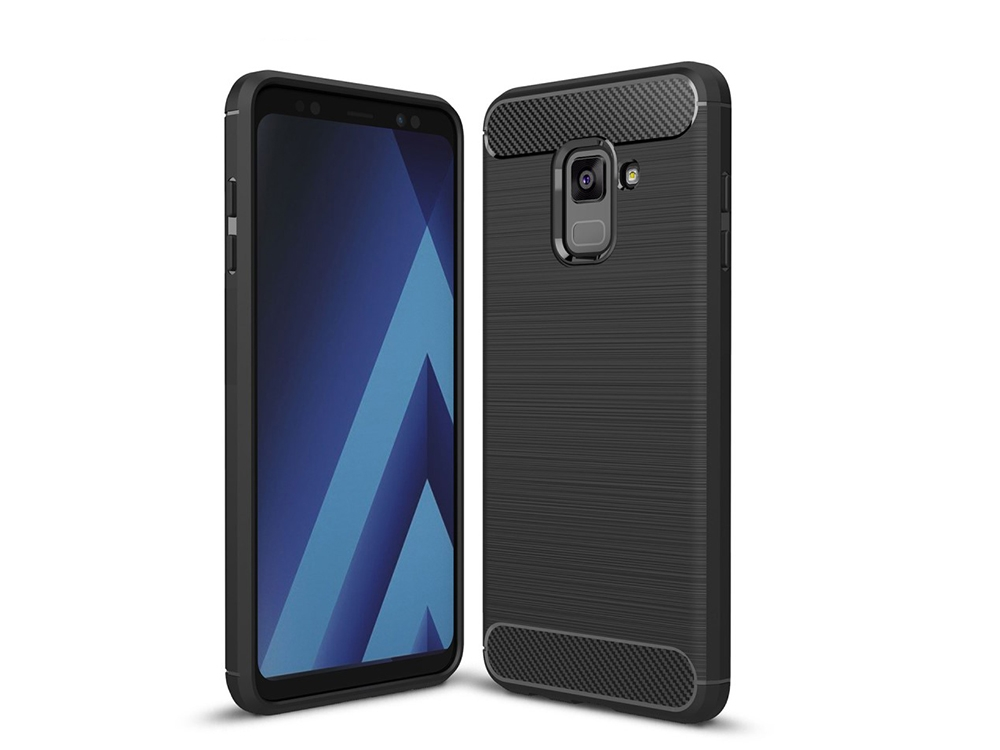 Силиконов гръб Carbon за Samsung Galaxy A5 2018 / A8 2018 A530, Черен