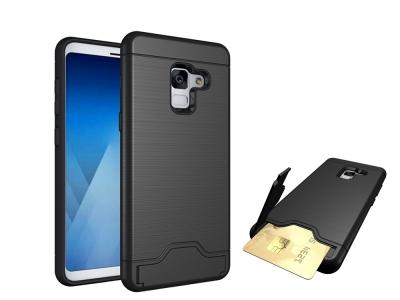 Калъф Гръб Hybrid Brushed с поставка и слот за карта за Samsung Galaxy A5 2018 /A8 2018 A530, Черен