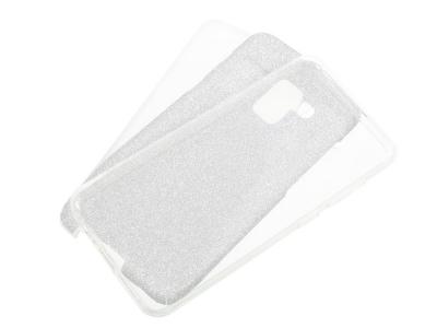 Калъф гръб Hybrid с брокат за Samsung Galaxy A5 2018 / A8 2018, Сребрист