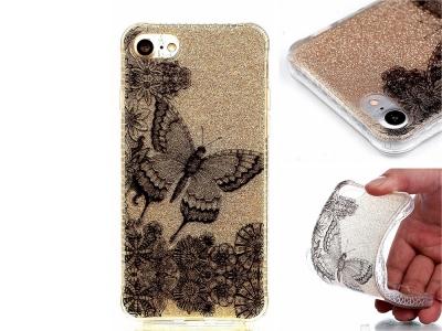 Силиконов гръб Glitter Powder за IPhone 8 / 7 , Черна Пеперуда