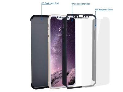 Калъф преден и заден PVC + Стъклен протектор за Iphone X, Черен