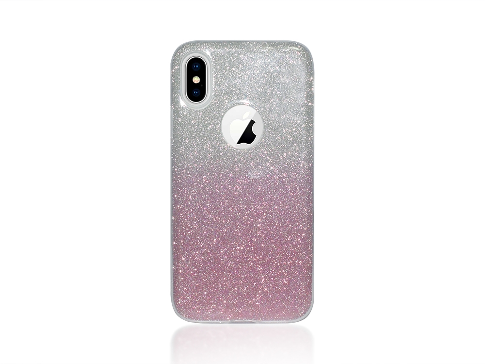 Калъф Гръб SHINING за IPhone X, Сребрист /Розов