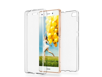 360 градуса Силиконов Калъф за Huawei P8 Lite, Прозрачен