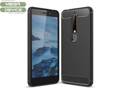 Силиконов гръб Carbon за Nokia 6 2018, Черен