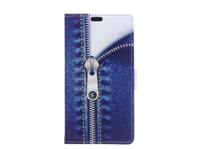 Калъф Тефтер за Alcatel 5 - Jeans Metal Zipper