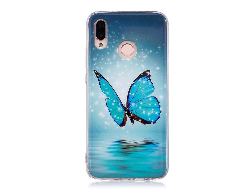Силиконов Гръб за Huawei P20 Lite , Блестяща синя пеперуда