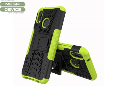 Удароустойчив Калъф гръб с поставка Hybrid Tyre Pattern - Huawei P20 Lite - Green