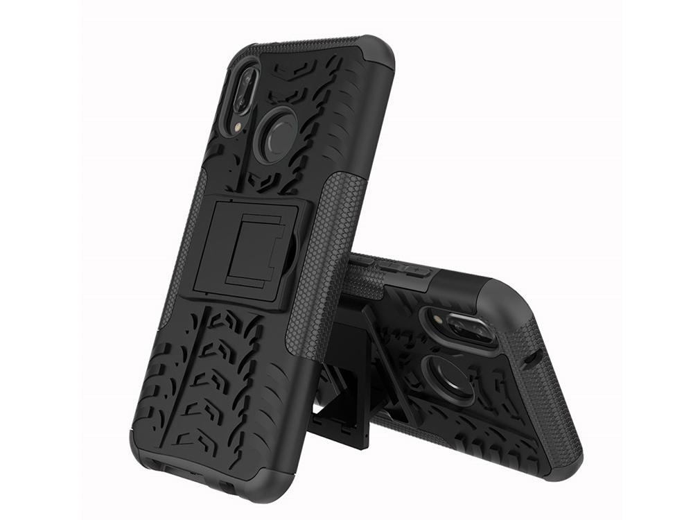 Удароустойчив гръб с поставка Hybrid за Huawei P20 Lite , Черен