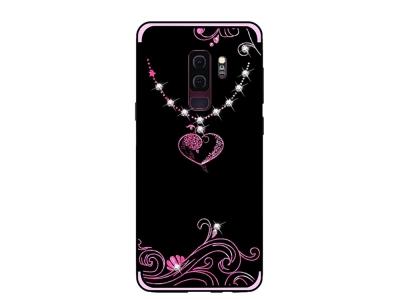 Силиконов гръб Rhinestone Decor за Samsung Galaxy S9 Plus 2018 G965, Сърце
