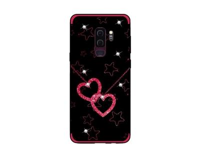 Силиконов гръб Rhinestone Decor за Samsung Galaxy S9 Plus 2018 G965, Сърца