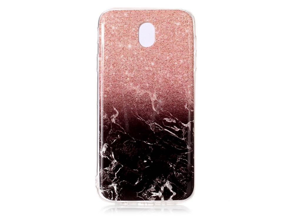 Силиконов гръб Marble за Samsung Galaxy J7 2017 J730, Розов/ Черен