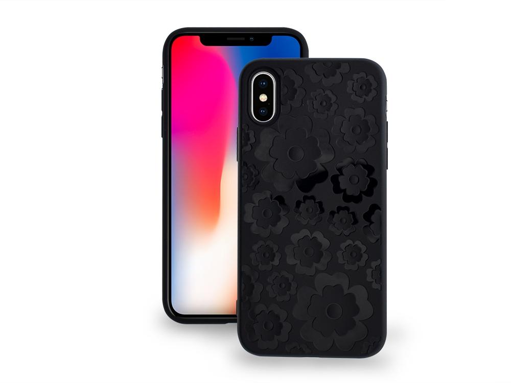 Силиконов гръб 3D Цветя за Iphone X, Черен