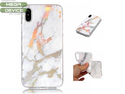 Силиконов гръб Marble за Iphone X , Бял