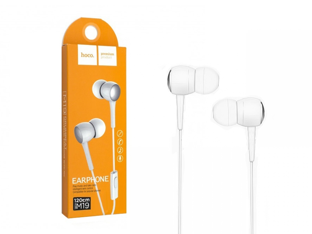 Слушалки с микрофон HOCO 3.5мм , Бял