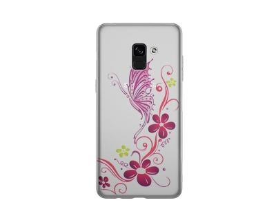 Силиконов гръб за Samsung Galaxy A5 2018 / A8 2018 A530 , Лилава пеперуда