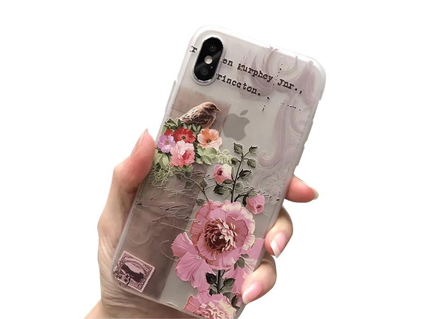 Силиконов Гръб за iPhone X , Розови цветя