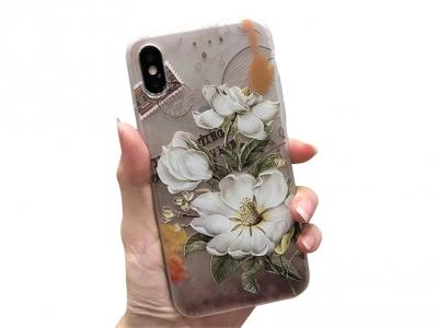 Силиконов Гръб за iPhone X , Красиви цветя