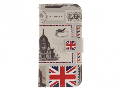 Калъф Тефтер за Motorola Moto E4 (EU Version) ,- Великобритания флаг