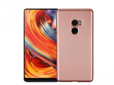 Силиконов гръб Carbon за Xiaomi Mi Mix 2 , Розов/ Златист