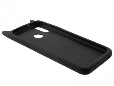 Силиконов Гръб 3D с Мустаци на Коте за Huawei P20 Lite / Nova 3e , Черен