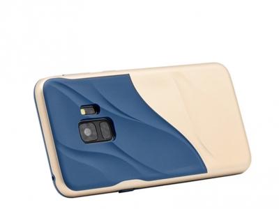 Удароустойчив гръб Hybrid за Samsung Galaxy S9 2018 G960, Тъмно син/ Златист