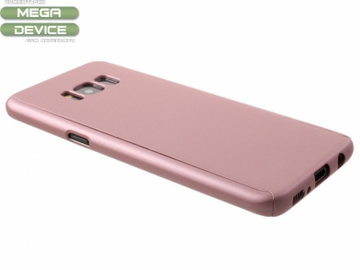 360 градуса пластмасов калъф със защитно фолио за Samsung Galaxy S8 2017 G950, Розов