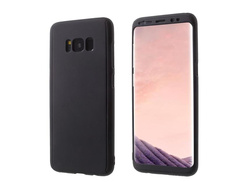 360 градуса пластмасов калъф със защитно фолио за Samsung Galaxy S8 2017 G950, Черен