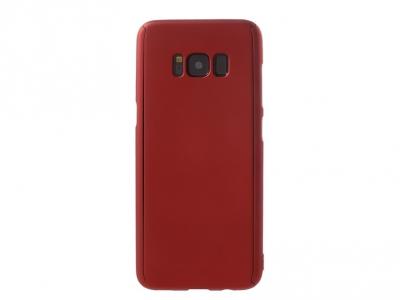 360 градуса пластмасов калъф със защитно фолио за Samsung Galaxy S8 2017 G950, Червен