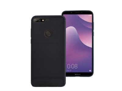 Силиконов гръб Carbon за Huawei Y7 2018 / Y7 Prime 2018, Черен