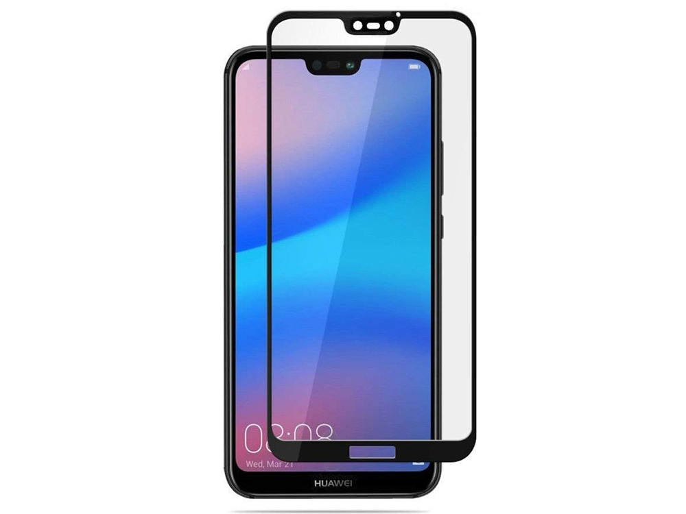 Стъклен протектор 5D Full Glue за Huawei P20 Lite , Черен