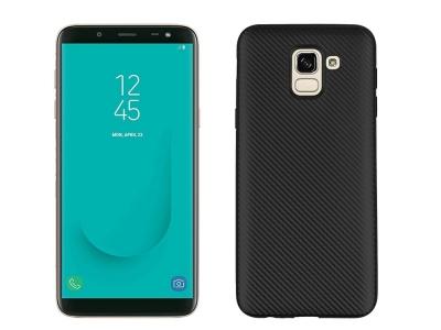 Силиконов гръб Carbon за Samsung Galaxy J6 2018, Черен
