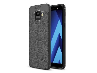 Силиконов гръб Litchi за Samsung Galaxy A6 2018, Черен