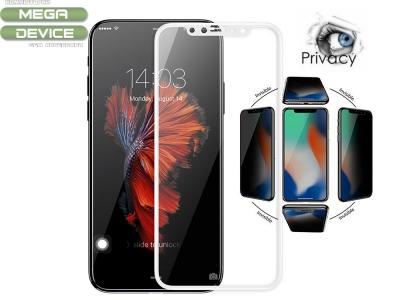 Стъклен протектор Privacy 5D Full Glue iPhone X , Бял