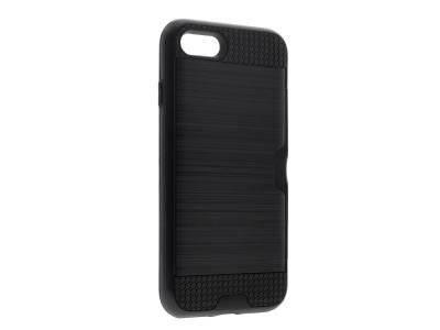 Удароустойчив Гръб със Слот за Карти за iPhone 7 / iPhone 8 (4.7), Черен