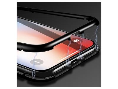 360 Алуминиев магнитен бъмпер за iPhone X / 10, Черен
