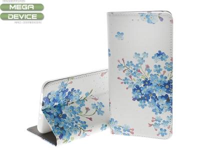 Калъф Тефтер Decor Book за Huawei P10 Lite, Сини Цветенца