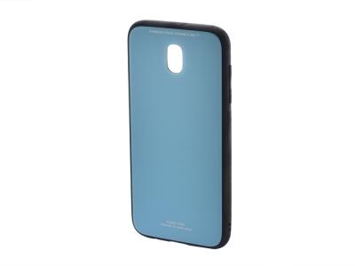 Стъклен гръб със силиконова лайстна Glass за Samsung Galaxy J5 2017 J530 , Син
