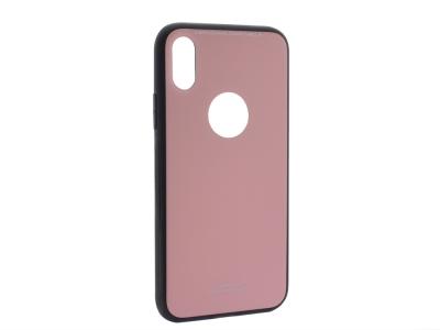 Стъклен гръб със силиконова лайстна Glass за iPhone X / 10, Розов