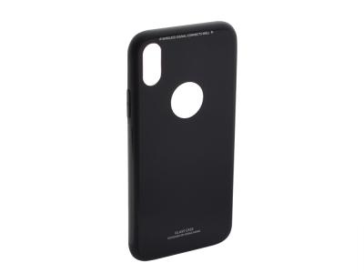 Стъклен гръб със силиконова лайстна Glass за  iPhone X / 10, Черен