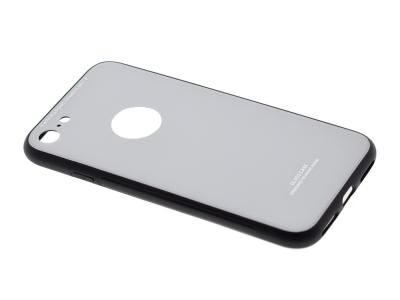 Стъклен гръб със силиконова лайстна Glass за iPhone 7 / iPhone 8 (4.7), Бял