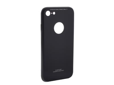 Стъклен гръб със силиконова лайстна Glass за iPhone 7 /iPhone 8 (4.7), Черен