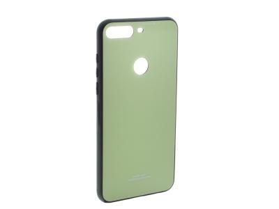 Стъклен гръб със силиконова лайстна Glass за  Huawei Y7 Prime 2018 / Y7 2018, Светло зелен