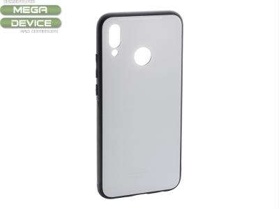 Стъклен гръб със силиконова лайстна Glass за Huawei P20 Lite, Бял