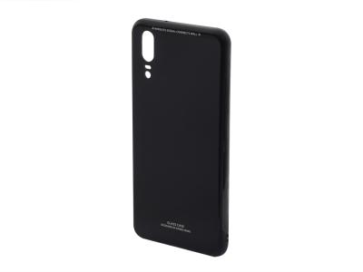Стъклен гръб със силиконова лайстна Glass за Huawei P20, Черен