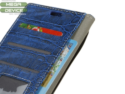 Калъф Тефтер Crocodile за Alcatel 3x, Син