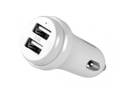 Зарядно за кола 12V XO CC-08 2.4A 2x USB + кабел Micro USB , Бял
