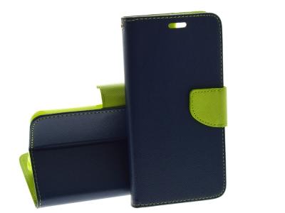 Калъф Тефтер Fancy Book за Huawei P Smart / Enjoy S7, Тъмно син/ Зелен