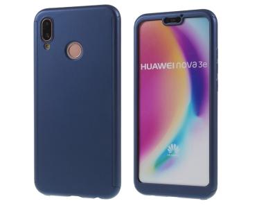 Калъф преден и заден PVC + протектор - Huawei P20 Lite - Blue