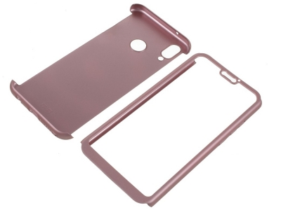 Пластмасов преден и заден капак + стъклен протектор за Huawei P20 Lite , Розово/ Златист