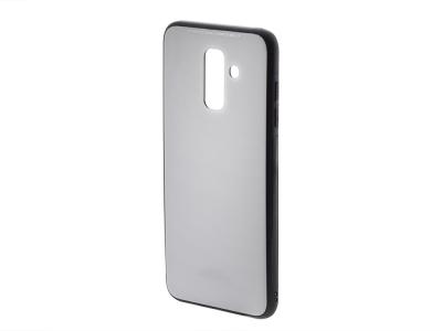 Стъклен гръб със силиконова лайстна Glass за Samsung Galaxy A6 Plus 2018, Бял
